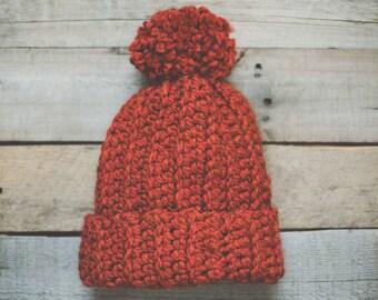 Orange Hat Pom Pom | Slouch Beanie | Chunky Hat | Crocheted Hat | Gold | Wool Blend | Adult | Handmade | Soft