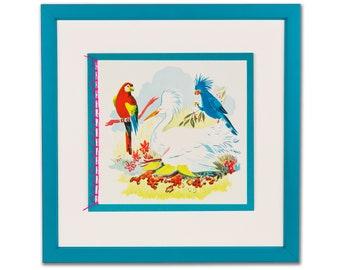 Framed Bird Illustration, Vintage Wall Decor