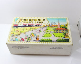 Rare Vintage Zeno's Salt Water Taffy Boardwalk Sweet Shop Cardboard Collectible Box