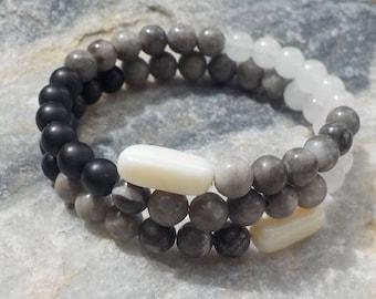 Black and White Mala Bracelet- prayer beads - 54 beads