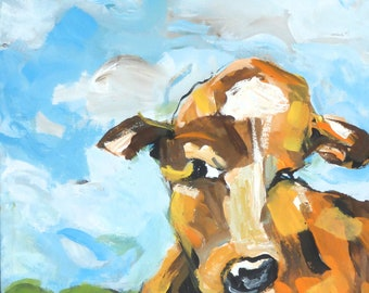 painting cow brown and blue sky home decor 12 by 24 inches art on canvas animal art