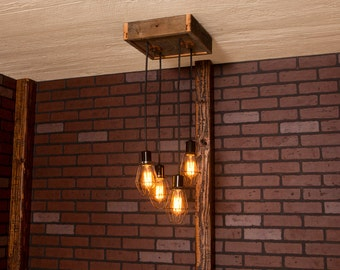 Industrial lighting, Industrial Chandelier, Antique Brass With Reclaimed Wood and 4 Pendants. R-1212-AC-4