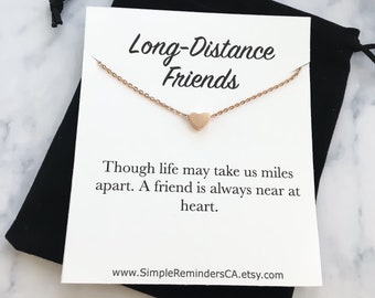 Delicate Gold Heart Necklace Card, Dainty Heart Necklace, Friendship Necklace, Long Distance Friends Jewelry, Minimalist Rose Gold Necklace