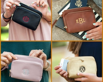 Leather Wristlet, Monogram Wristlet, Monogram Leather Wristlet, Monogram Wallet, Monogrammed Clutch, Bridesmaid Gift, Vegan Leather Wristlet