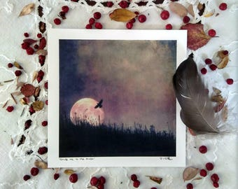 """Guide me to the moon, Art card print, 5x5"""""""