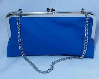 Bright blue clutch metal frame