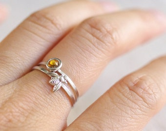 bumble bee ring . tiny bee ring . silver bee ring . gold bee ring . honeybee ring . honey bee stacking ring . simple bee ring
