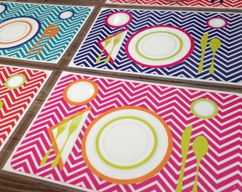 Children's Manners and Table Setting Placemat - Pink Chevron