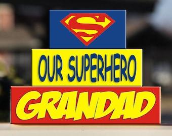 Personalized Superhero Grandparent Blocks – Gift