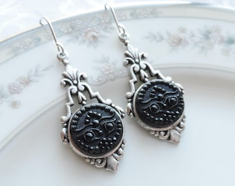 Antique Glass Button Earrings, Wise Old Owl, Silver Ox Finish, Black Glass, Victorian Button
