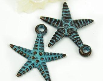 25%OFF 2 Green Patina Starfish Metal Charms 26X24mm Verdigris Charm Pendant Sea star Greek Mykonos Casting Double Sided summer nautical