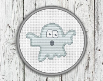 Cute Ghost Counted Cross Stitch Pattern, Halloween, Needlepoint Pattern - PDF, Instant Download