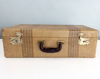 Vintage Striped Suitcase, Suitcase Vintage 1920s, Antique Suitcase, Tweed Suitcase, 1930s 1940s Antique Luggage, Photo Props, Movie Props