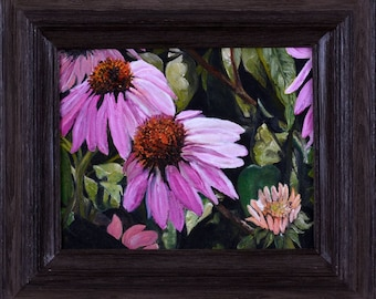 Floral Oil Painting, Purple Coneflowers, framed, Echinacea Blooms