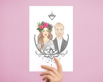 Custom Couple Portrait From Photo in Watercolor in Boho Style | Portrait for Couples, Custom Wedding Portrait, Custom Family Portrait