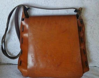 Vintage,Leather Handbag, Hippie Chic, Tooled Leather, Shoulder Handbag, Boho Handbag