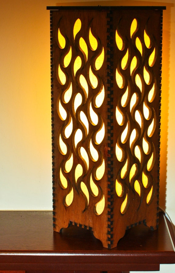 Items similar to handmade laser cut table night bedside lamp waterfall on etsy