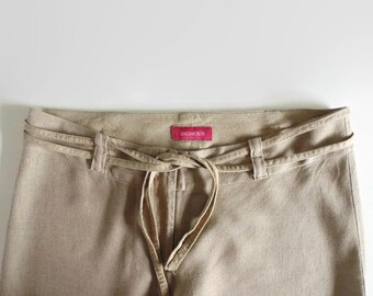 Pants in Light Brown Linen - 90s Pajama Style Trousers - Vintage Clothing, Straight Pants, Summer Wear, Low Waist, Long, Size US 10 Women