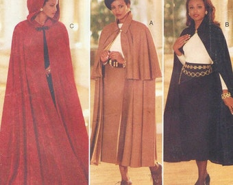 90s Womens Hooded Cape and Skirt Full Length Cape Butterick Sewing Pattern 3084 Size 18 20 22 Bust 40 42 44 Steampunk Capes Straight Skirt