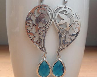 Antique silver drop paisley and turquoise crystal earrings