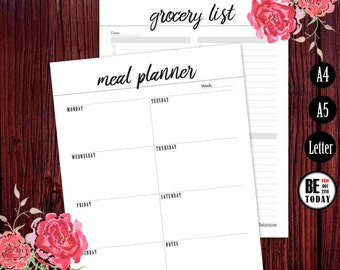 Meal Planner Printable, Grocery List Page, Menu Planner, Fitness, Healthy, Weekly Meal Planner, Filofax Planner Inserts, A5, A4, Letter Size