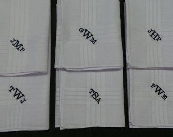 1 Men Monogrammed Handkerchief Men's Hankies Embroidered Groom, Groomsman,  Dad, Grandpa's Gift.