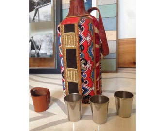 SALE// Rare Boho Textile Tribal Fabric & Leather Wrapped Glass Flask With 3 German Shot Glasses Festival Barware Drinks Drink Holder Vintage