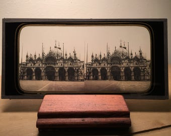 Facade of Saint Mark's Basilica - 1850s Glass Stereoview by Ferrier, Original Antique Stereoview, Gilded Passe-partout