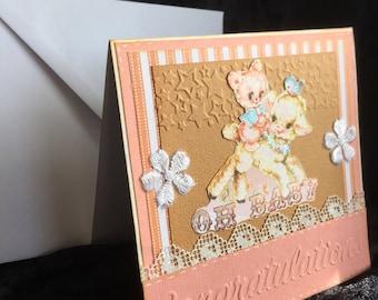 Baby card shabby chic handmade shower card
