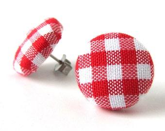 Red gingham earrings - tartan stud earrings - red button earrings - check fabric earrings - plaid post earrings - gift for her - white