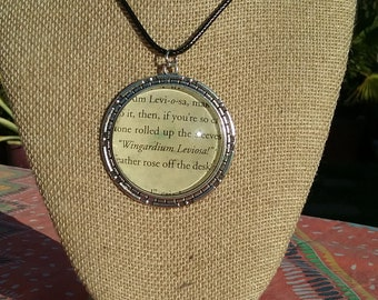 Harry Potter and the Sorcerer's Stone Book Pendant - Wingardium Leviosa - Spell - Magic - 40mm Pendant