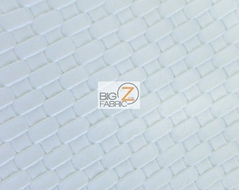 Lattice Basket Weave Upholstery Vinyl Fabric - WHITE - By The Yard Embossed PU Leather
