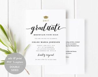 Graduation Party Invitation Card Template, Printable Graduate Celebration Card Grad Party Invitation Editable PDF Instant Download #SPP331ga