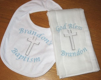 Baby Baptism or Christening Gift Personalized Embroidery Bib Burpcloth Customized with Name or Saying or other Occasion Boy or Girl