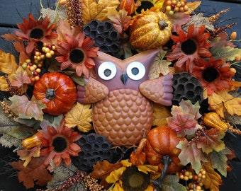 Autumn Owl Wreath/ Fall Wreath/ Pumpkin Wreath/ Fall Floral Wreath
