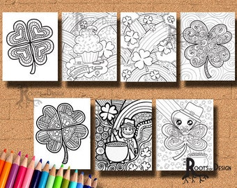 INSTANT DOWNLOAD Coloring Page - Fun St. Patrick Day Coloring Pack zentangle inspired, doodle art, printable