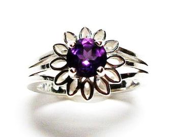 "Amethyst ring, amethyst petal ring, birthstone ring, solitaire ring, purple, s 6 1/2  ""Purple Petal Pushers"""