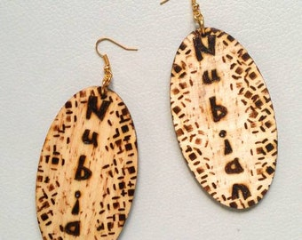 Nubian Wooden Earrings, Dangle Earrings,Drop Earrings,Gift Ideas, Wood Earrings,Jewellery,Brown Earrings,Wooden Jewellery, Afro, Afrocentric