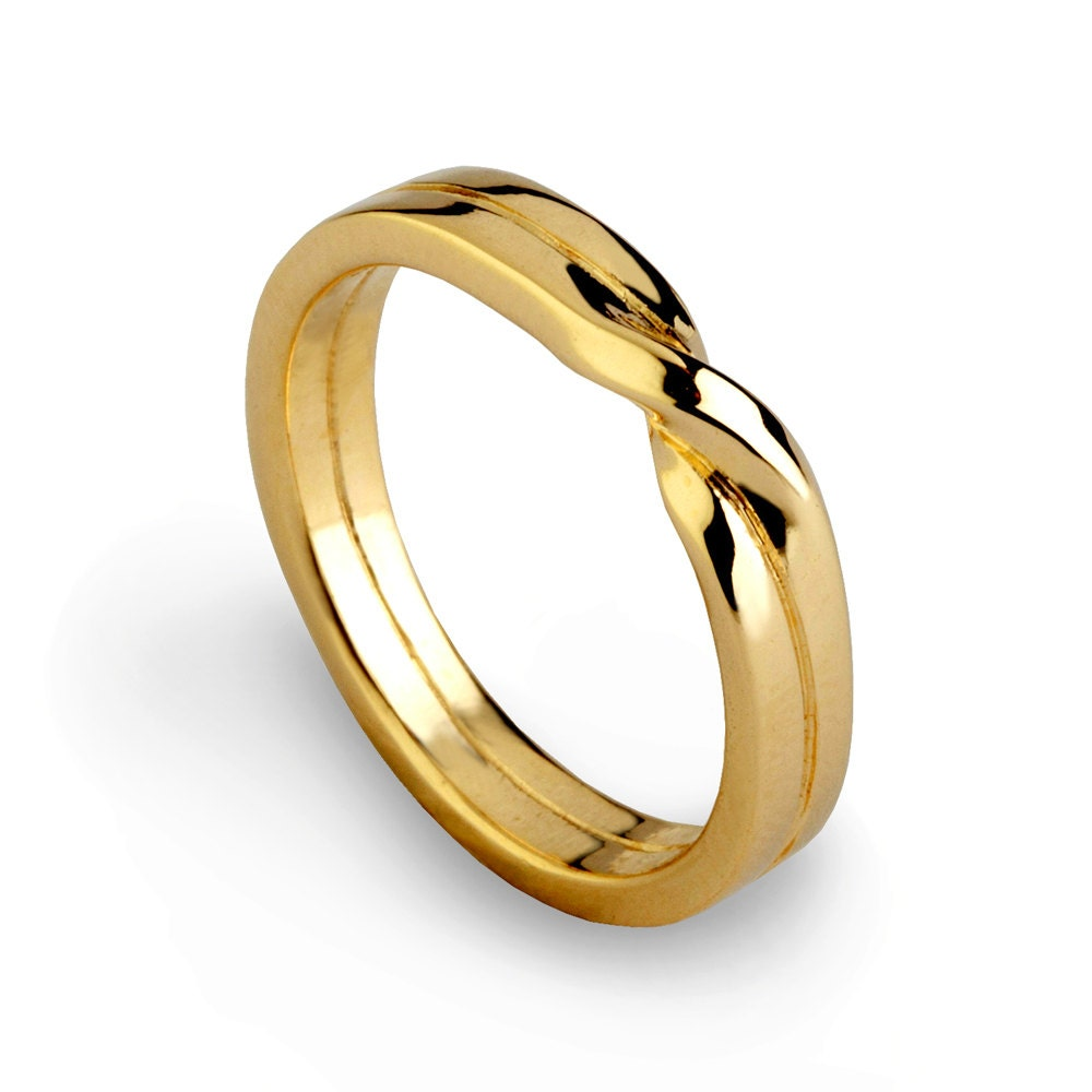 Love knot ring gold wedding band unique mens wedding band zoom junglespirit Image collections