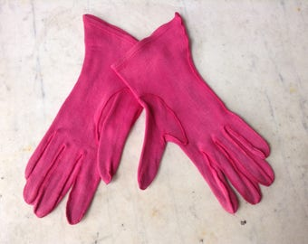 Retro Pink Ladies Gloves Size Small
