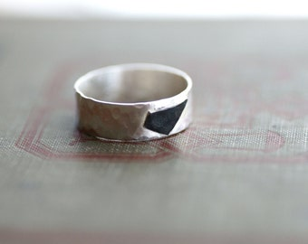 Sterling Silver Band with Oxidized Black Geometric Accent - Black and White Collection