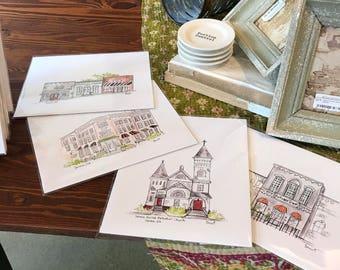 Custom storefront, restaurant, or church illustration, Archival Quality 8x10