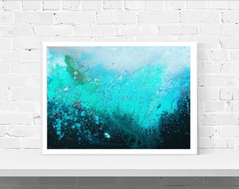 Teal & Turquoise Minimalist Abstract Wall Art Print - Abstract Landscape, Black and Teal, Grey and Turquoise A4 to A4 Large Wall Art Print