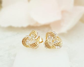 Gold Knot Earring Studs - Cluster Stud Earrings - Cubic Zirconia Earrings - Crystal Cluster Earrings - Knot Studs - Gold Bridal Studs E2576