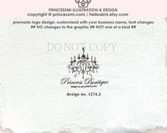 1274-2  chandelier design, logo design, vintage chandelier, wedding business, home decor logo, decor logo design, branding,  boutique logo