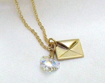 Crystal Heart Gold Charm Necklace, Swarovski Clear AB Crystal, Dainty Gold Satin Envelope - Delicate Jewelry Gift for Her