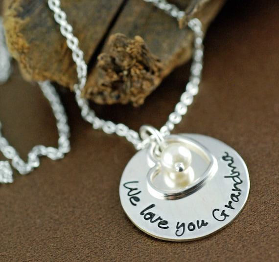 Personalized Grandma Necklace - We love you Grandma Necklace - Hand Stamped Necklace - Grandmother Gift - Silver Heart Necklace