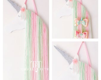 Unicorn hair bow holder, mint, pink, white, hair clip holder, accessory holder, unicorn bedroom, girls bedroom, hair bow organiser, unicorn