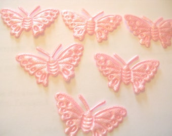 BATCH 6 fabric APPLIQUE: Butterfly pink 30mm