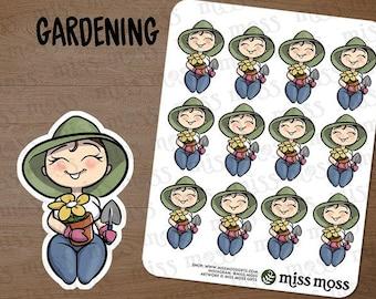 Light Skin Curvy Plus Size Gardener Gardening Planner Girl Stickers White Caucasian Asian - Erin Condren, Happy Planner, Filofax, Decorative